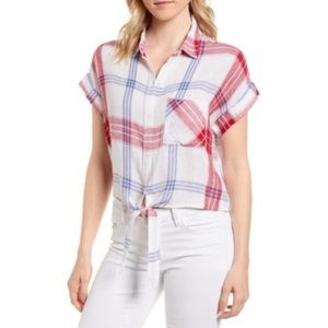 RAILS Amalie Plaid Tie Front Shirt Size L